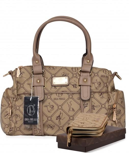 Damentasche + Damengeldbörse SET Farbe Karamell Marke Giulia Pieralli 26119E