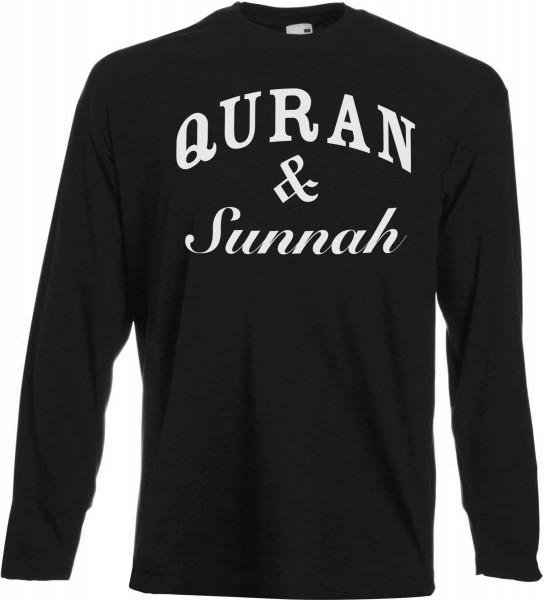 Quran & Sunnah Langarm T-Shirt - Muslim Halal Wear Black
