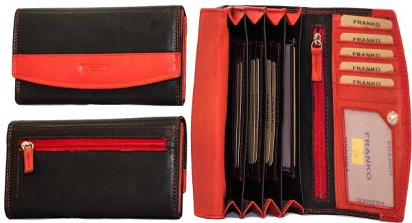 Damen Geldbörse Geldrasche Voll Leder 17x9,5x3,5 cm XXL Frauen Portemonnaie Rot