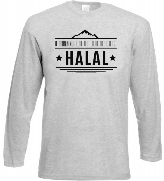 O Mankind! Eat of that which is HALAL Langarm T-Shirt - Muslim Halal Wear Grey