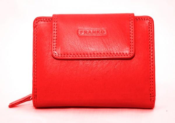 Damen 100% Leder Geldbörse 1467 Rot Geldbeutel Pormonee Portemonnaie Franko
