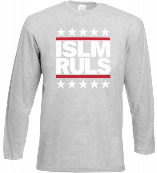 Islam Rules Stars Langarm T-Shirt - Muslim Halal Wear Grey
