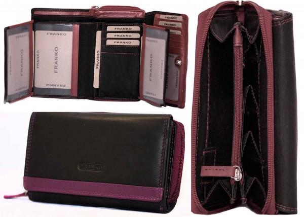 Damen Geldbörse Geldrasche Voll Leder 17x9,5x3,5 cm XXL Frauen Portemonnaie Lila