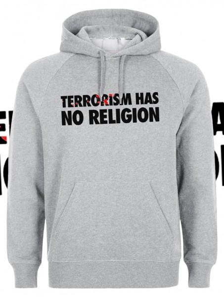 Terrorism has no Religion Kapuzenpullover Hoody Hoodie Grau Grey