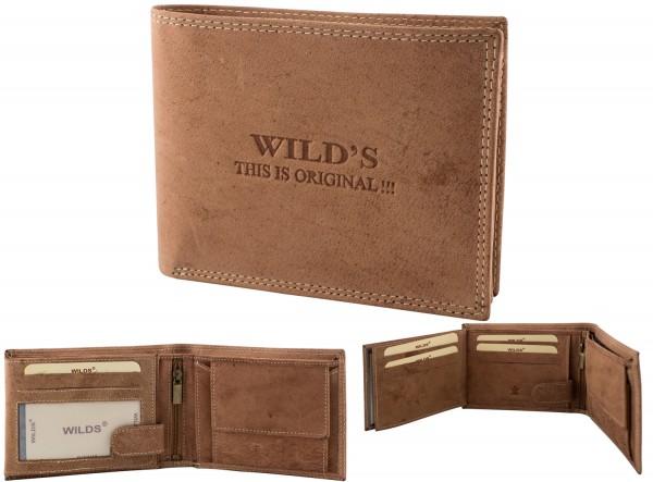 Herren Leder Geldbörse W02 Hellbraun Querformat Geldbeutel Portemonnaie Brieftasche