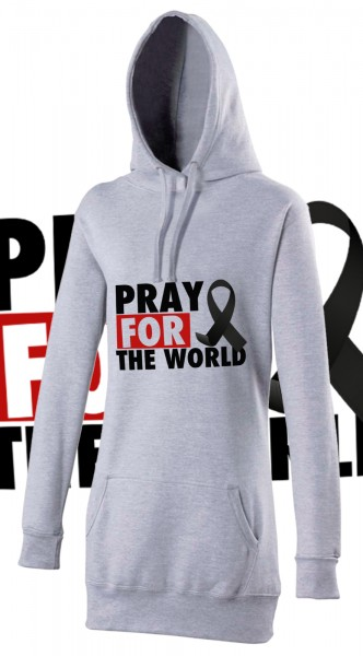 Pray for the World Woman Damen Hoody Hoodie Grau Grey