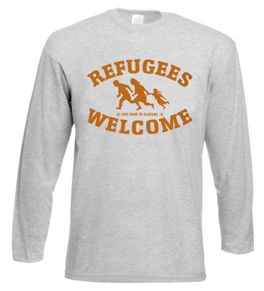 Refugees welcome Langarm Shirt Grau mit orangener Aufschrift - No one is illegal