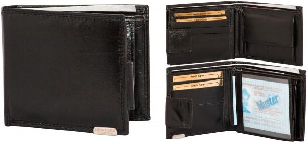 Herren Portemonnaie Geldbörse Leder Dragon G1013 Schwarz Querformat Geldbeutel Brieftasche