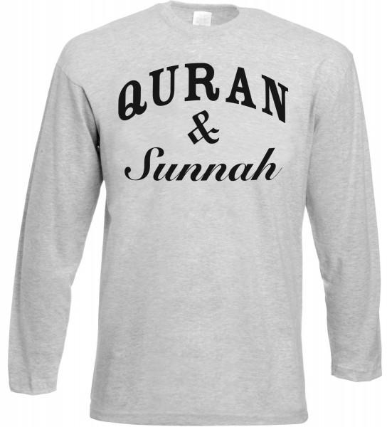 Quran & Sunnah Langarm T-Shirt - Muslim Halal Wear Grey