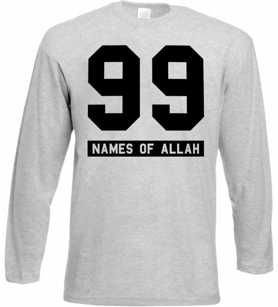 99 Names of Allah Langarm T-Shirt - Muslim Halal Wear Grey