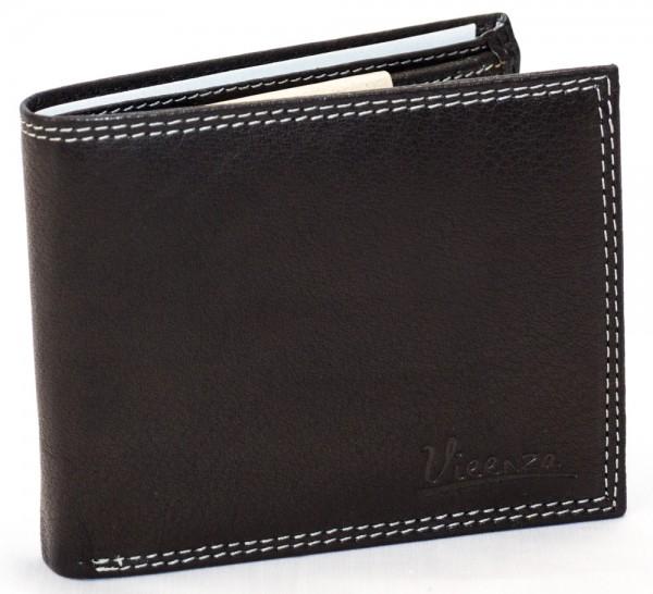 Herren Geldbörse Schwarz Vieenzo Büffel Leder Geldbeutel Portemonnaie Brieftasche Portmonee