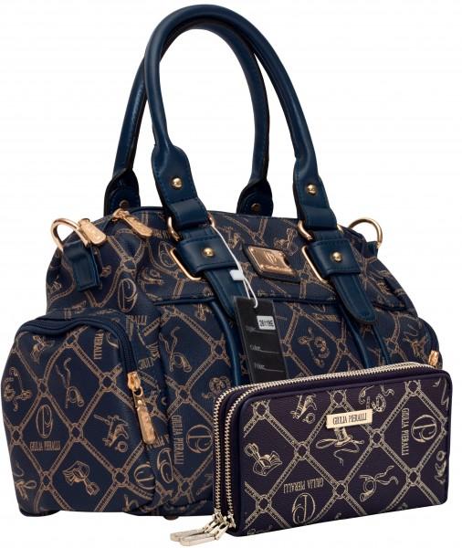 Damentasche + Damengeldbörse SET Farbe Blau Marke Giulia Pieralli 26119E