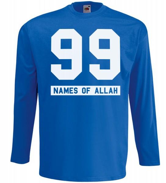 99 Names of Allah Langarm Shirt - Halal Wear Muslim Shirt Blau