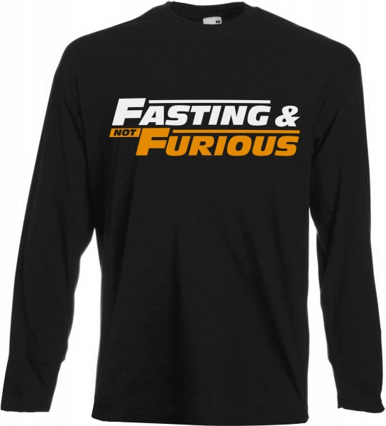Fasting and not Furious Langarm T-Shirt - Muslim Halal Wear Black