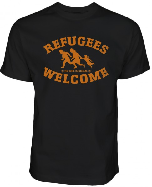 Refugees welcome Shirt Schwarz mit orangenes Motiv - Nobody is illegal