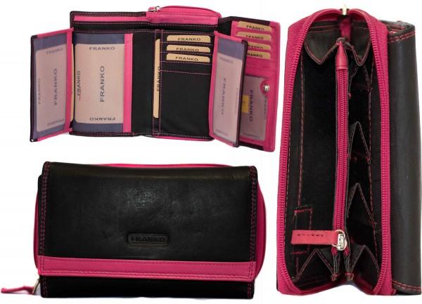 Damen Geldbörse Geldrasche Voll Leder 17x9,5x3,5 cm XXL Frauen Portemonnaie Pink