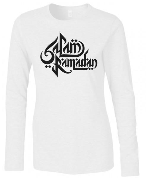 Salam Ramadan arabische Kalligraphie Halal-Wear women Langarm T-Shirt