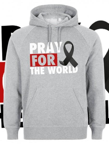 Pray for the World Kapuzenpullover Hoody Hoodie Grau Grey mit weißer Aufschrift