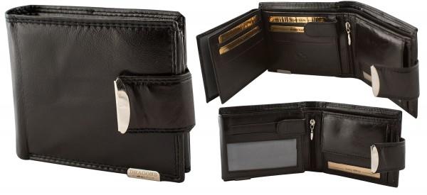 Herren Portemonnaie Geldbörse Leder Dragon G509 Schwarz Querformat Geldbeutel Brieftasche