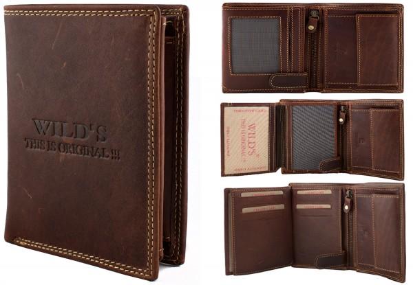 Herren Portemonnaie Geldbörse Leder Wild OP35P Dunkelbraun Hochformat Geldbeutel Brieftasche