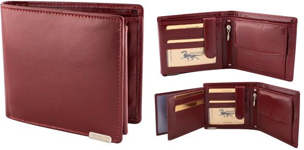 Herren Portemonnaie Geldbörse Leder Dragon G1000 Dunkelrot Querformat Geldbeutel Brieftasche