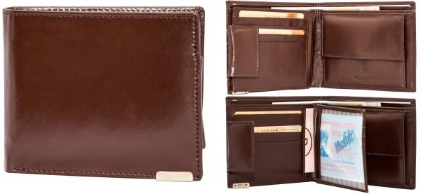 Herren Portemonnaie Geldbörse Leder Dragon G1013 Dunkelbraun Querformat Geldbeutel Brieftasche
