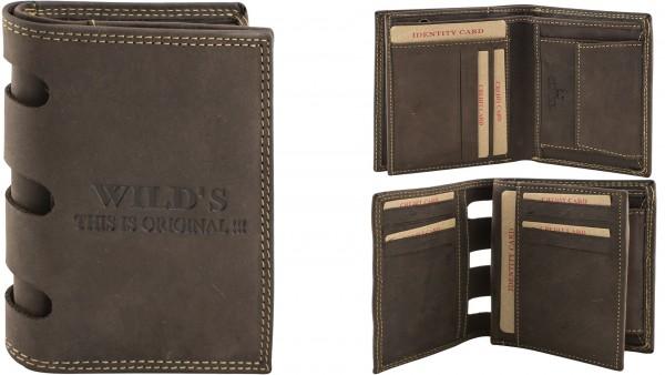 Herren Portemonnaie Geldbörse Leder Wild DB16 Hochformat Dunkelbraun Geldbeutel Brieftasche