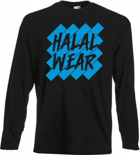Halal Wear Blue Langarm T-Shirt - Muslim Halal Wear Black