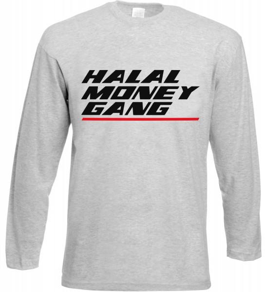 Halal Money Gang Langarm T-Shirt - Muslim Halal Wear Grey