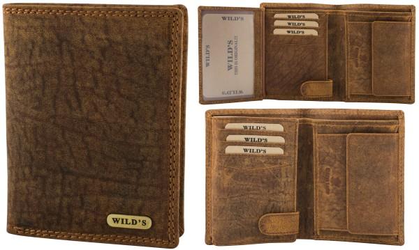 Herren Leder Geldbörse 214 Hellbraun Hochformat Geldbeutel Portemonnaie Brieftasche