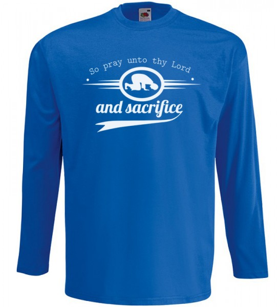 So pray unto thy Lord and sacrifice Sure Al-Kauthar Langarm T-Shirt Halal Wear Blau