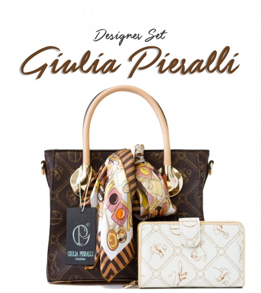 SET Giulia Pieralli Damentasche in Luxus Look als Coffee Edition / 27311 + Portemonnaie in Creme