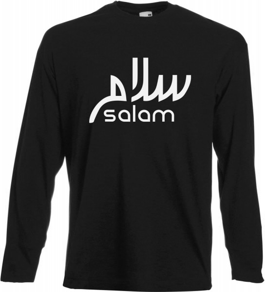 Salam arabische Kalligraphie Langarm T-Shirt - Muslim Halal Wear Black