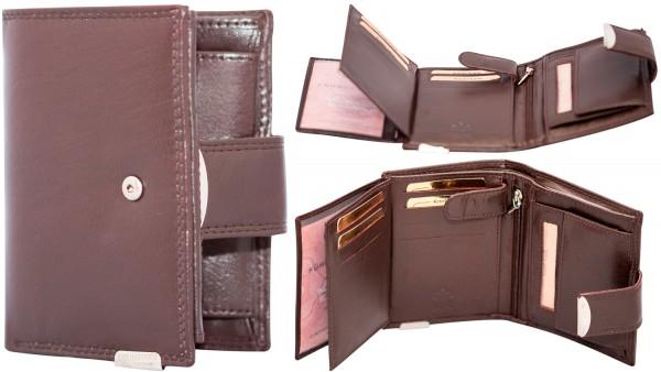 Herren Portemonnaie Leder Dragon G510 Dunkelbraun Hochformat Geldbörse Geldbeutel Brieftasche