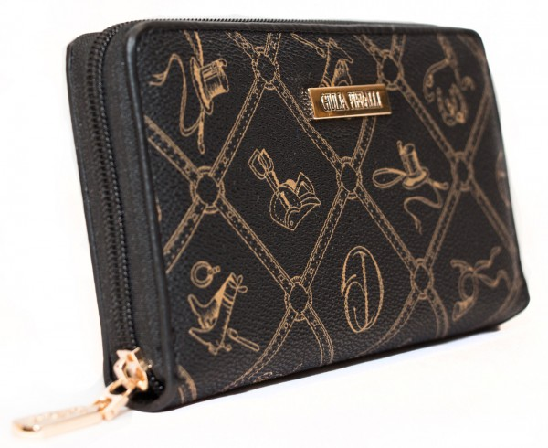 Giulia Pieralli Damen Geldbörse 0475 Nero Schwarz Frauen Portemonnaie Geldtasche