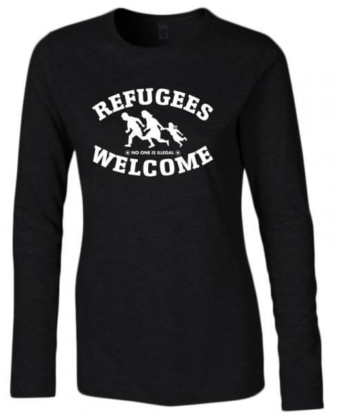 Refugees welcome Damen Shirt Schwarz mit weißer Aufschrift - No one is illegal