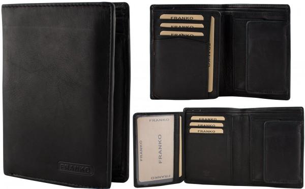 Herren Portemonnaie Geldbörse Leder Franko 625 Schwarz Hochformat Geldbeutel Brieftasche