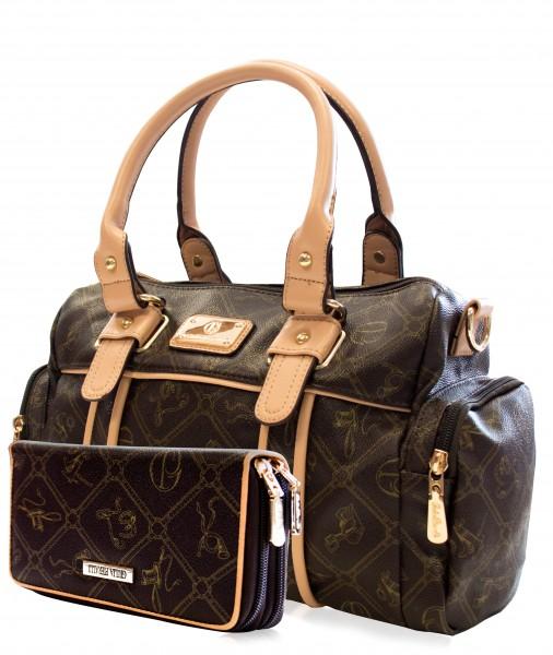 Damentasche + Damengeldbörse SET in Farbe Braun Marke Giulia Pieralli 26119E