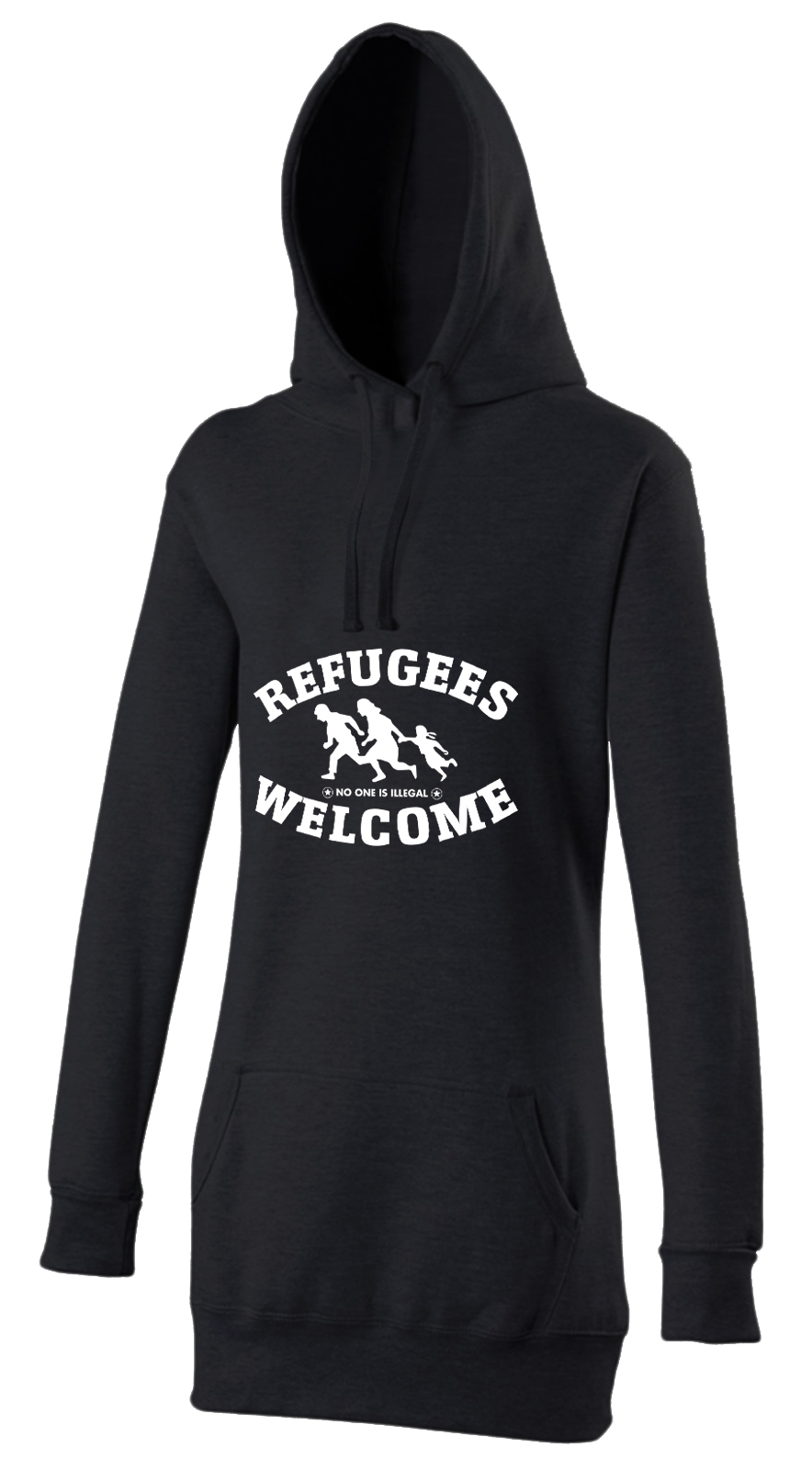 refugees welcome damen hoody schwarz mit wei er aufschrift. Black Bedroom Furniture Sets. Home Design Ideas