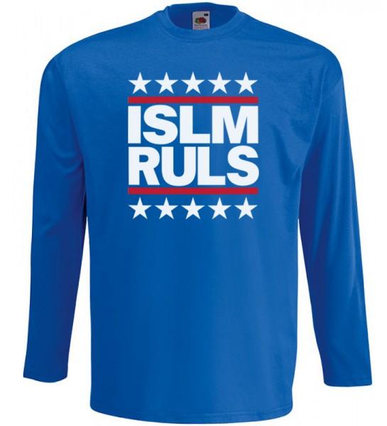 Islam Rules Stars Langarm T-Shirt Halal Wear Blau