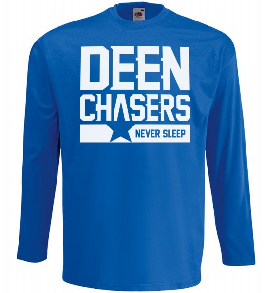 DEEN Chasers never sleep Langarm T-Shirt - Muslim Halal Wear Blau
