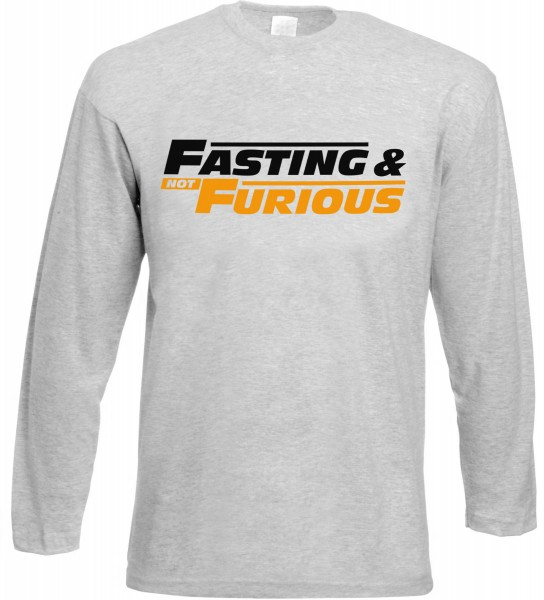 Fasting and not Furious Langarm T-Shirt - Muslim Halal Wear Grey