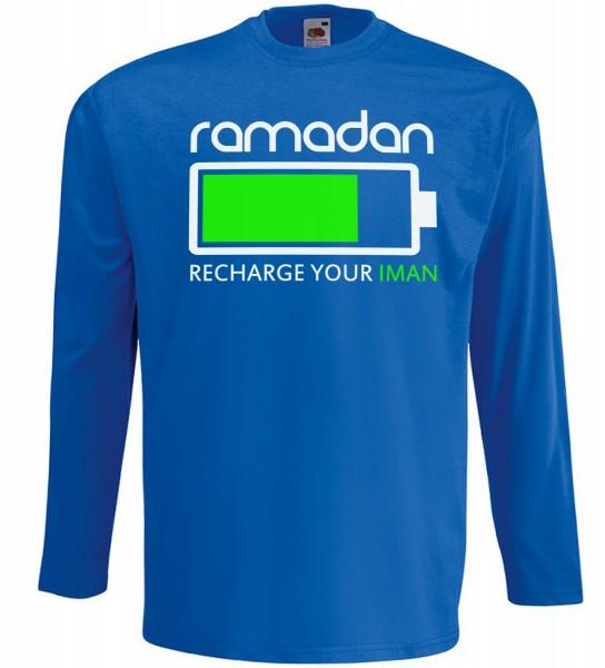 Ramadan - Recharge your Iman Langarm T-Shirt - Muslim Halal Wear Blau