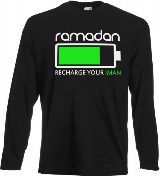 Ramadan Recharge your Iman Langarm T-Shirt - Muslim Halal Wear Black