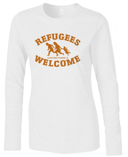 Refugees welcome Woman Shirt Weiß mit orangener Aufschrift - No one is illegal