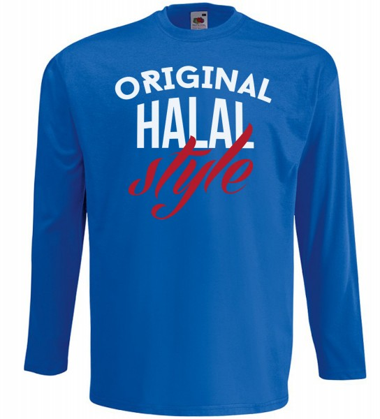 Original Halal Style  Langarm T-Shirt - Muslim Halal Wear Blau